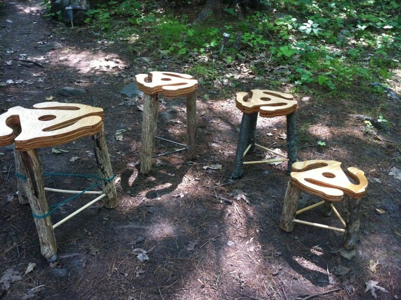 Hand made creative stools . Iron wood legs.